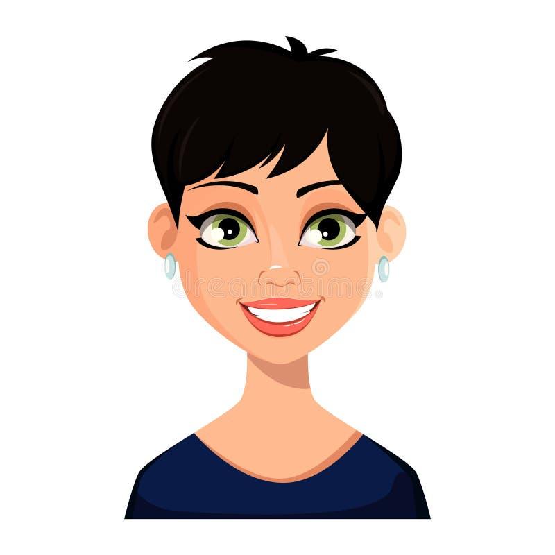 Espressione facciale di bella donna royalty illustrazione gratis
