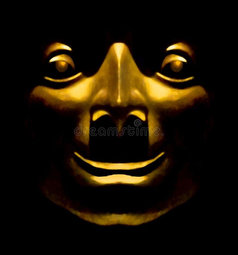 Espressione felice della scultura dorata del fronte illustrazione vettoriale