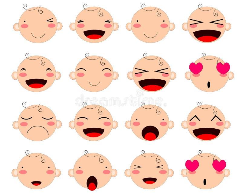 Espressione sveglia semplice del fronte del bambino illustrazione vettoriale