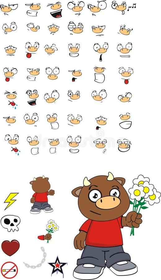 Espressioni adorabili del fumetto del bambino del toro fissate illustrazione di stock