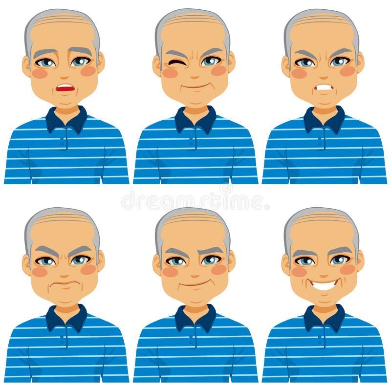 Espressioni calve senior del fronte dell'uomo illustrazione di stock