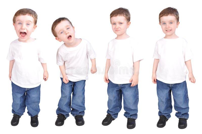 Espressioni del bambino di Little Boy di personalità immagini stock libere da diritti