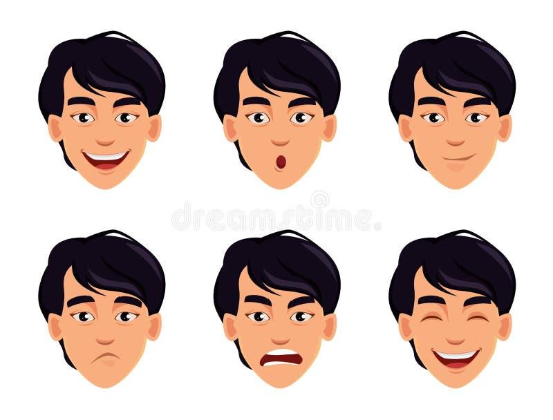 Espressioni del fronte dell'uomo asiatico royalty illustrazione gratis