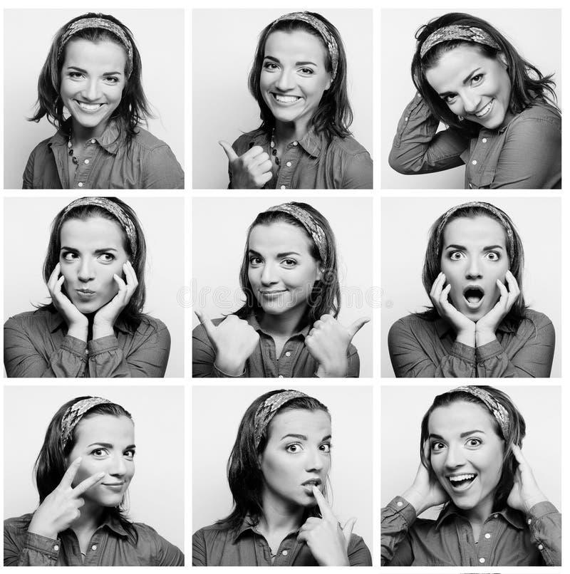 Espressioni del fronte della giovane donna composite immagini stock libere da diritti