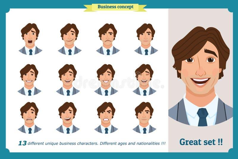 Espressioni del fronte di un uomo personaggio dei cartoni animati piano Uomo d'affari in un vestito ed in un legame illustrazione di stock