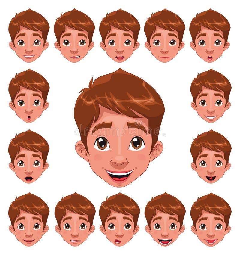 Espressioni del ragazzo con la sincronizzazione di orlo. illustrazione di stock
