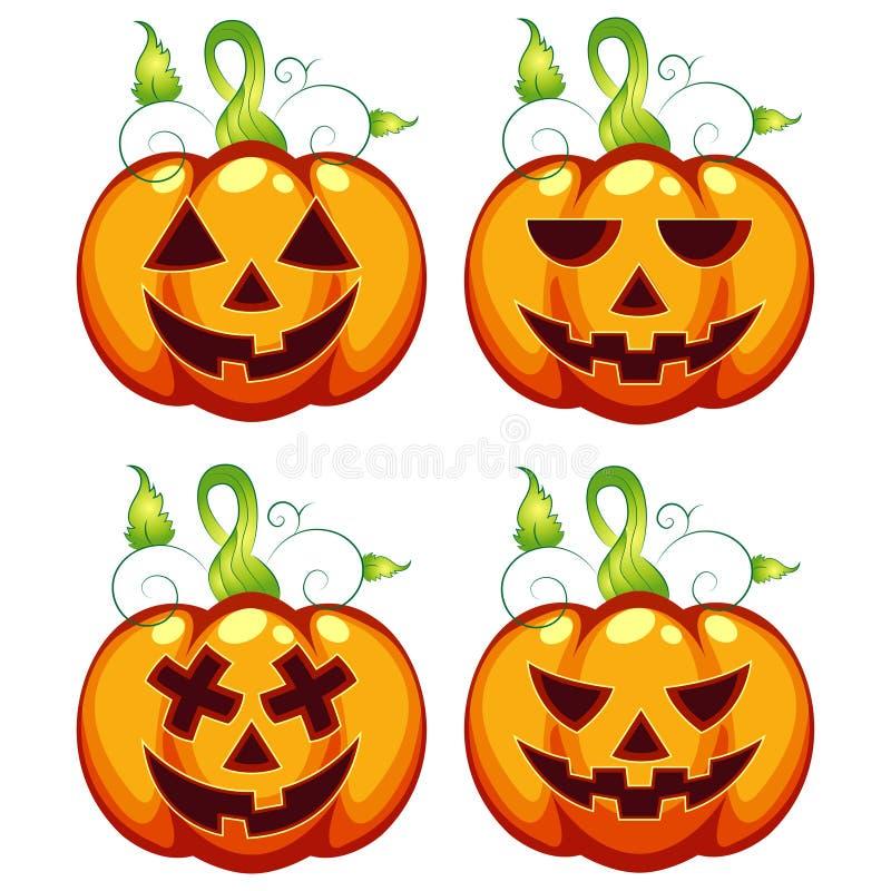 Espressioni della zucca di Halloween scolpite illustrazione di vettore fissate illustrazione di stock