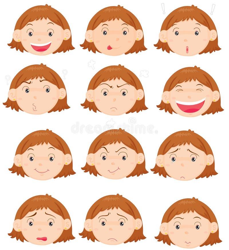 Espressioni facciali illustrazione vettoriale