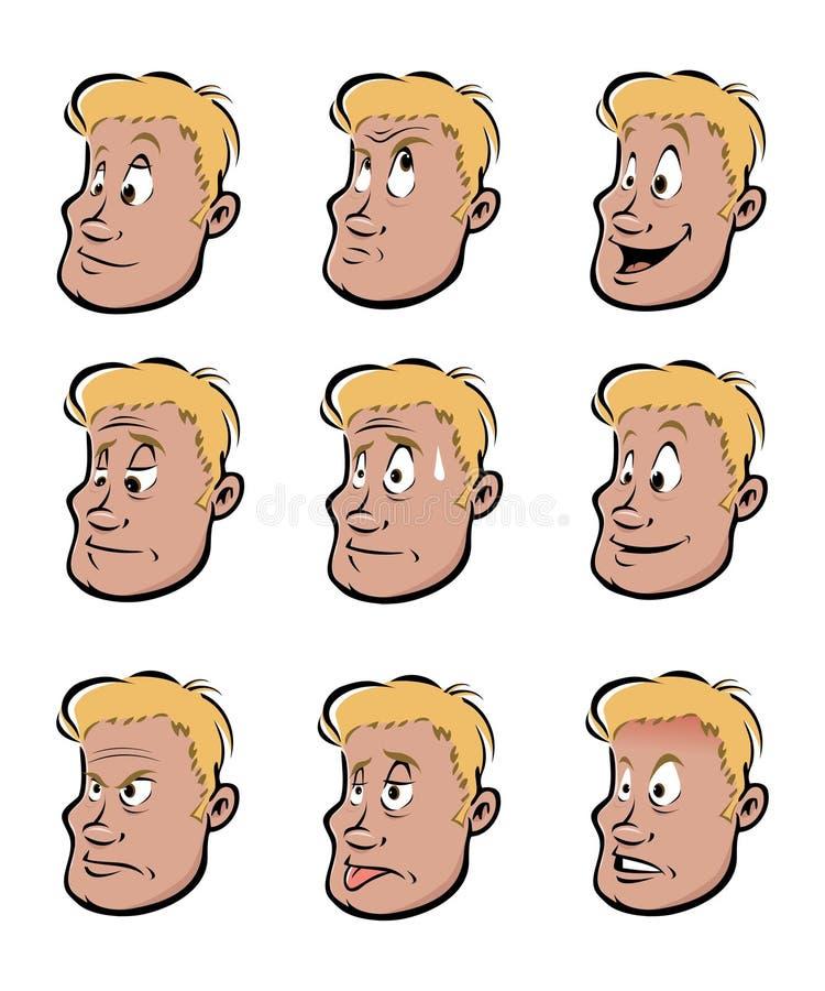 Espressioni facciali del giovane royalty illustrazione gratis