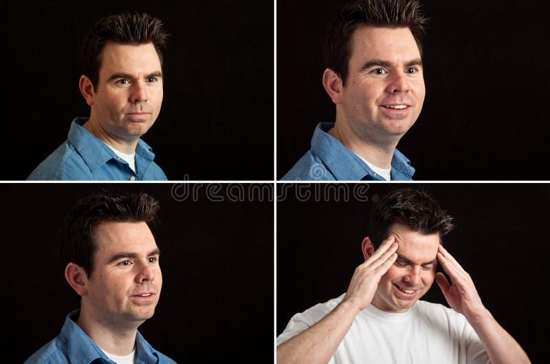 Espressioni facciali del ritratto maschio sul nero fotografie stock