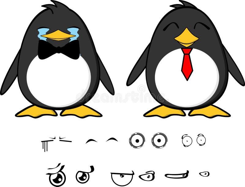 Espressioni felici set2 del fumetto del bambino del pinguino illustrazione di stock