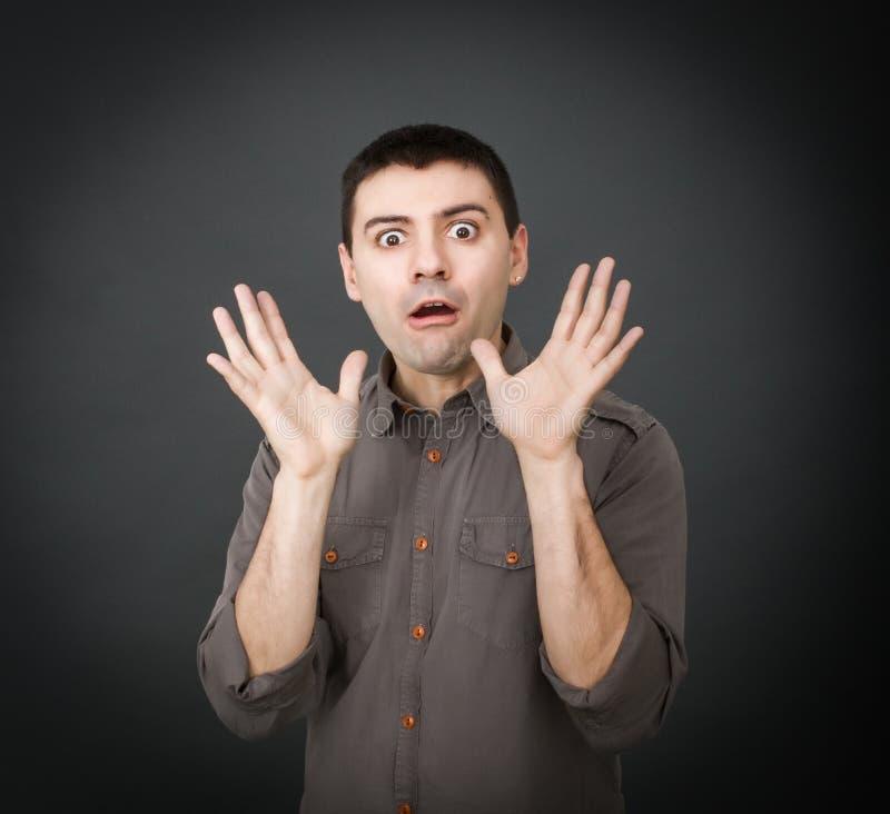 Espressioni per un unbelievieng dell'uomo immagini stock libere da diritti