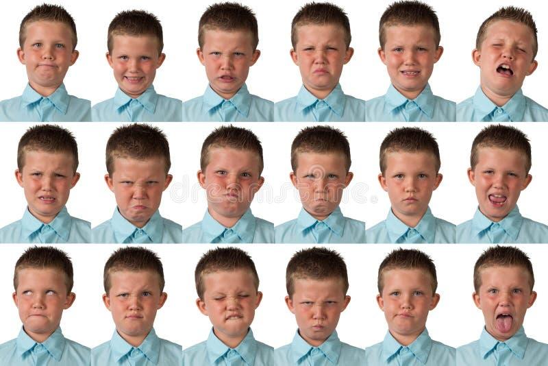 Espressioni - ragazzo di nove anni immagini stock