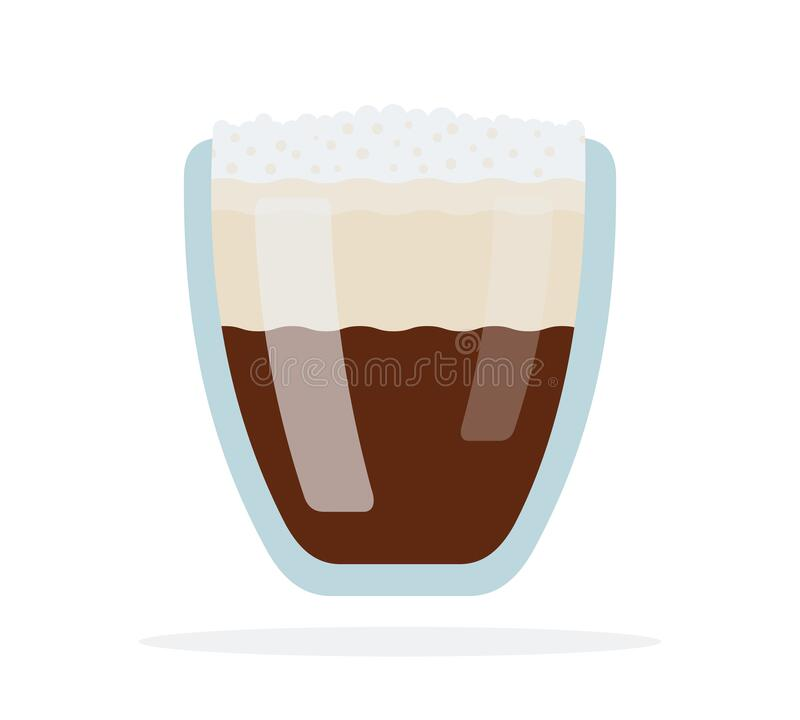 Espresso aislado en doble vectorial de vidrio libre illustration