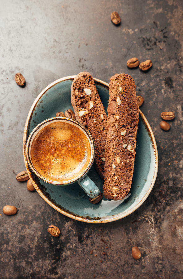 Espresso and biscotti royalty free stock photography
