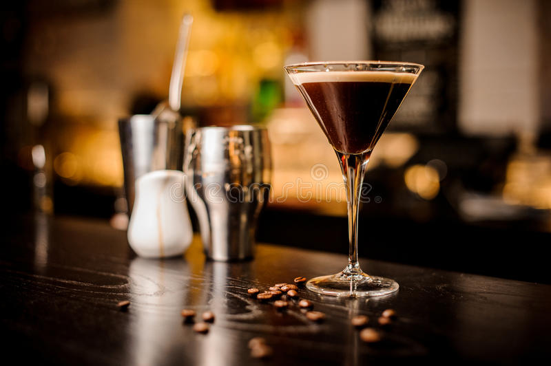 Espresso cocktail drink white foam coffee bean bar inventory royalty free stock image