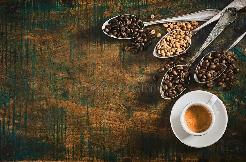 Espresso coffee with assorted roasted coffee beans royalty free stock photography