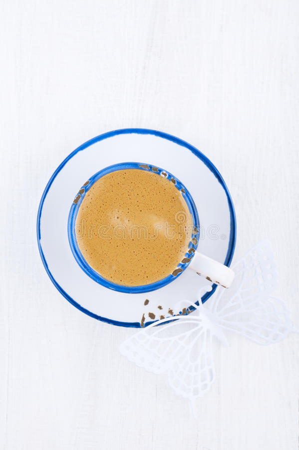 Espresso Coffee In Blue Trim White Cup And Saucer Stock Photo