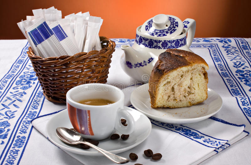 Download Espresso coffee and cake stock photo. Image of beverage - 22889914
