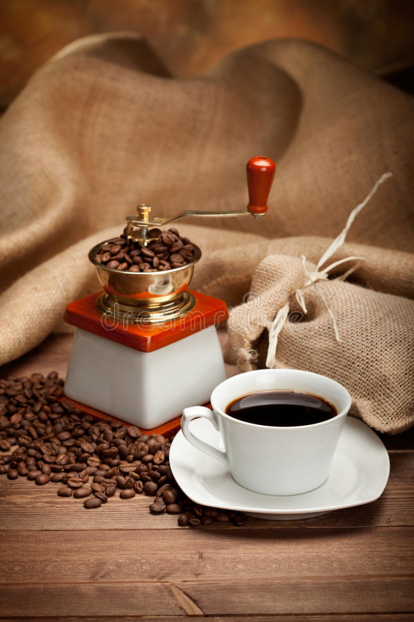 Espresso - coffee cup and beans. Black Espresso - coffee cup and beans stock photos