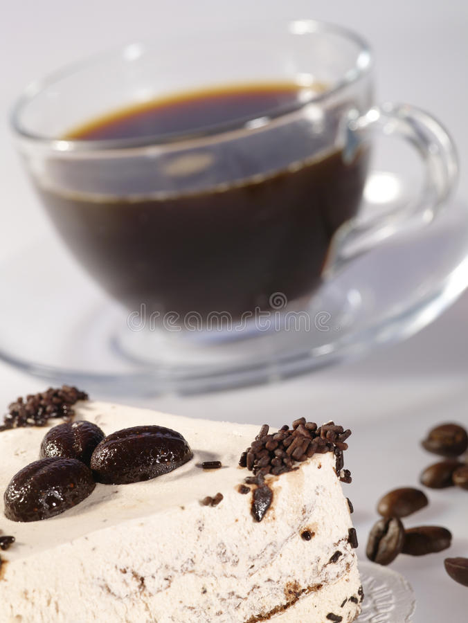 Espresso coffee in glass cup royalty free stock images