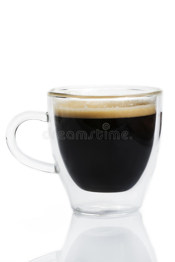 Espresso coffee in a glass cup stock photos