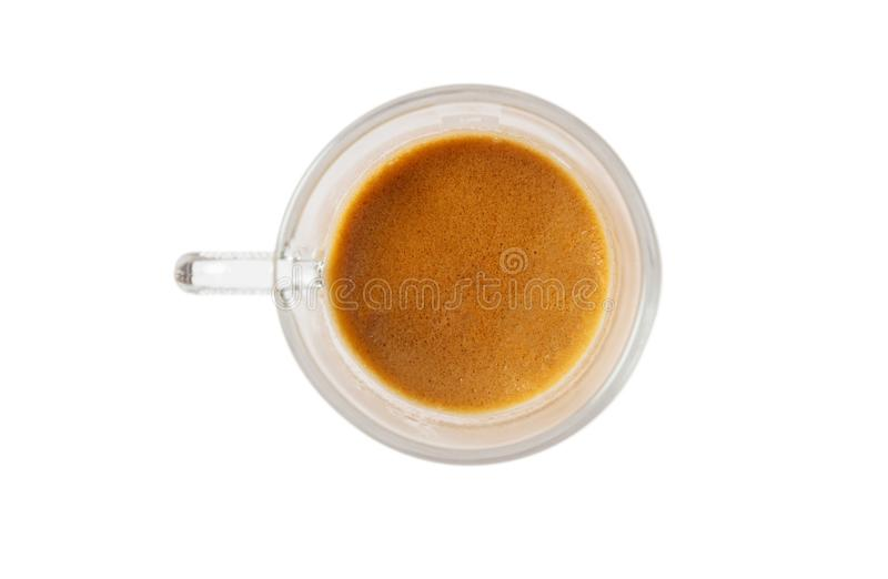 Espresso coffee isolated on a white background, top view stock photo