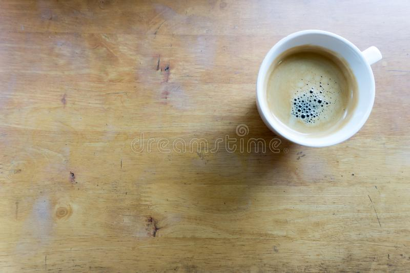 Espresso coffee in white cup with copy space stock photo