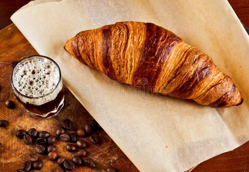 Espresso with croissant stock photos