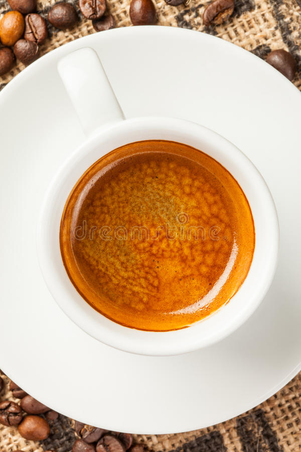 Espresso, cup of coffee, top view royalty free stock photo