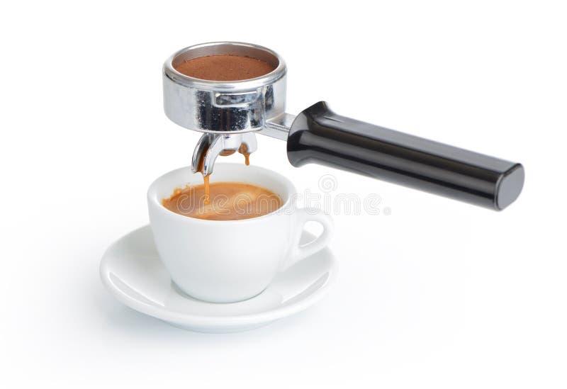 Espresso Filter Holder ~ Espresso cup and filter holder on white background stock