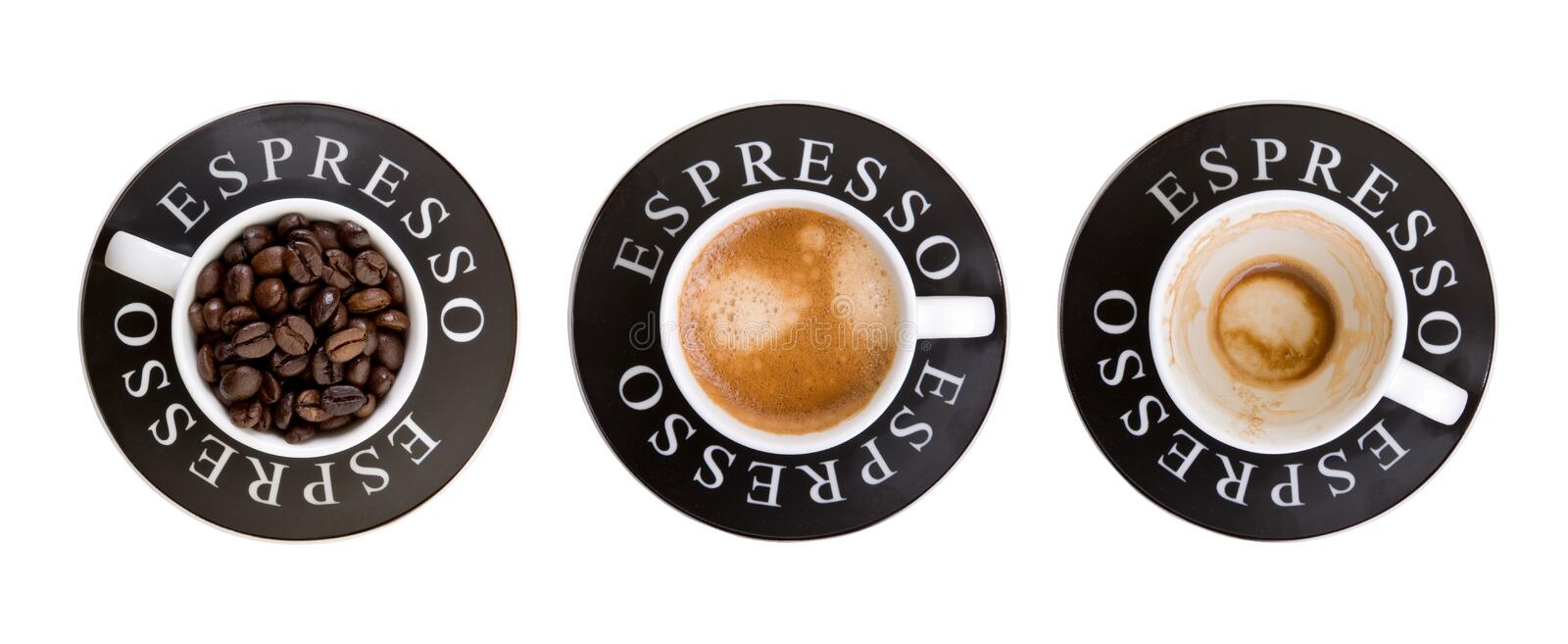 Espresso cups. Three Espresso cups isolated on white background stock image