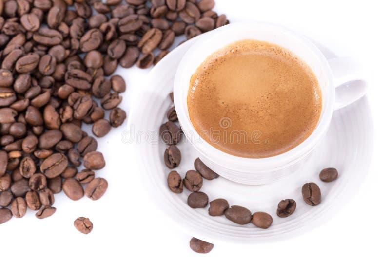 Espresso en koffiebonen royalty-vrije stock afbeelding