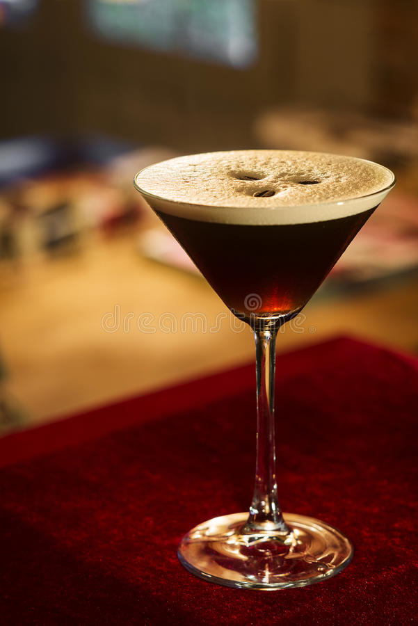 Espresso expresso coffee martini cocktail. In bar royalty free stock photos