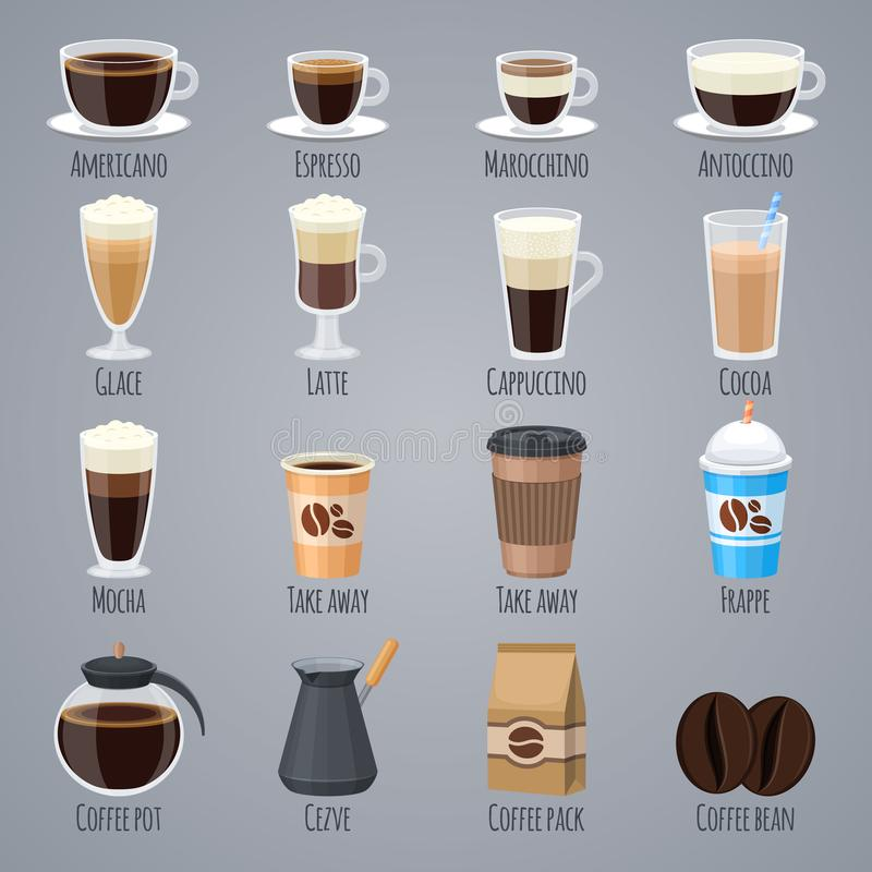 Espresso, latte, cappuccino in glasses and mugs. Coffee types for coffee house menu. Flat vector icons set stock illustration