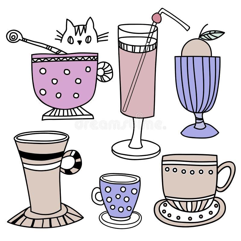 Espresso latte, cappuccino, macchiato, americano, svart kaffe royaltyfri illustrationer