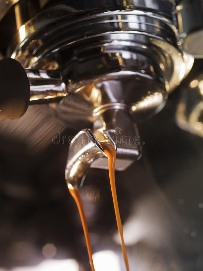 Espresso machine brewing a coffee espresso royalty free stock photography