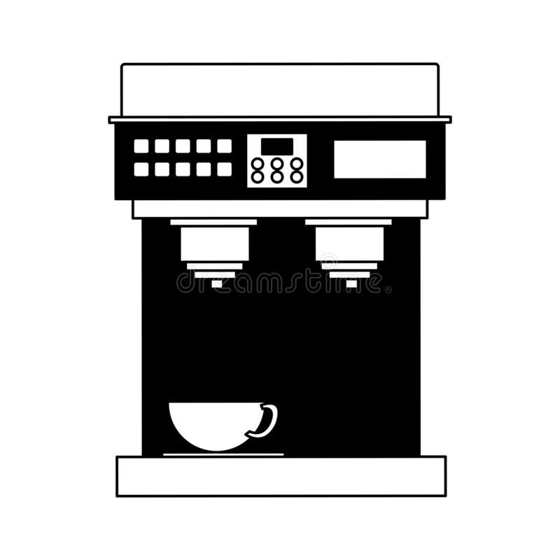 Espresso machine isolated in black and white stock illustration