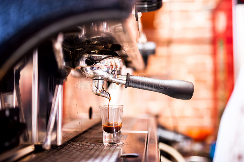 Espresso machine making coffee. In pub, bar, restaurant stock photo