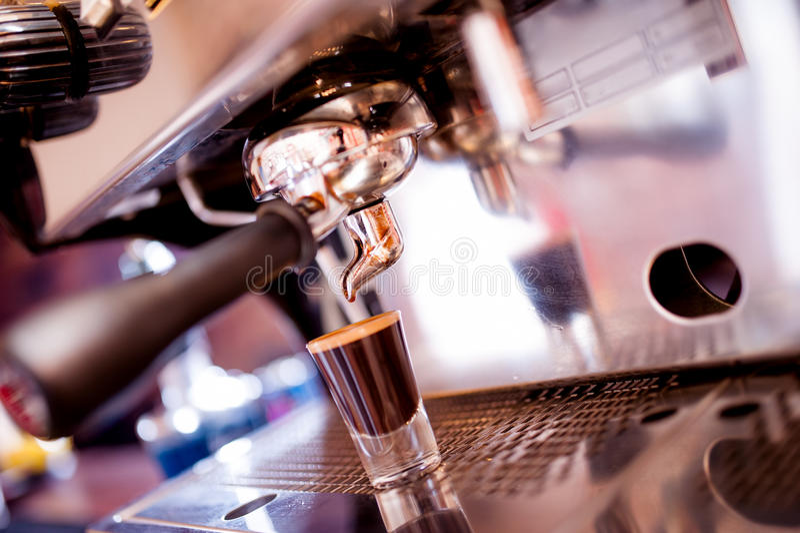 Espresso machine making special coffee stock image