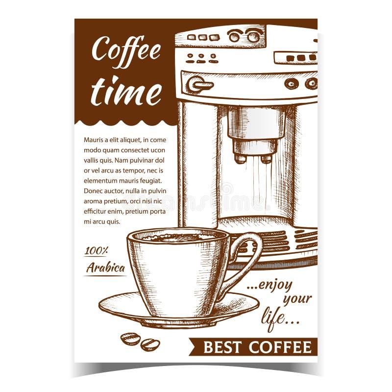 Espresso Machine - Widok Z Przodu I Wektor Banera ilustracja wektor