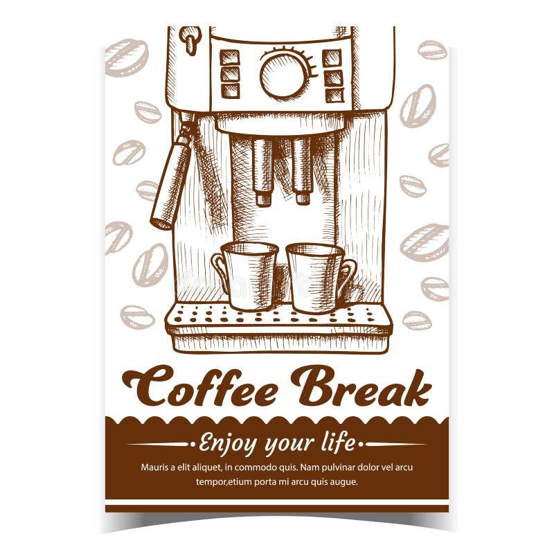 Espresso Machine Z Dwoma Rysunkami Plakatu ilustracja wektor