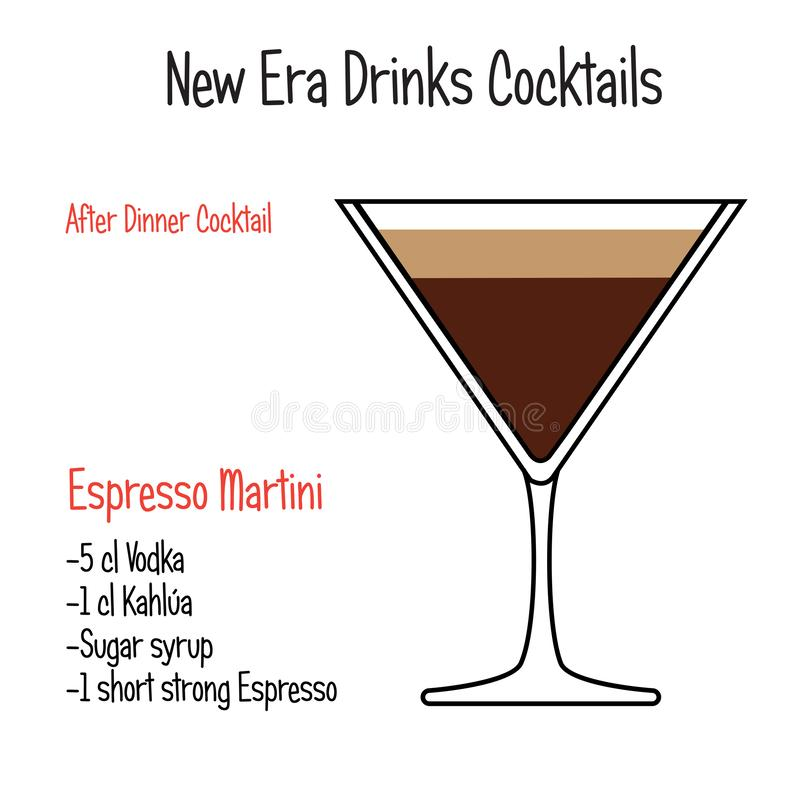 Espresso martini alcoholic cocktail vector illustration recipe isolated. Hand drawn alcoholic drinks, Espresso martini alcoholic cocktail vector illustration vector illustration