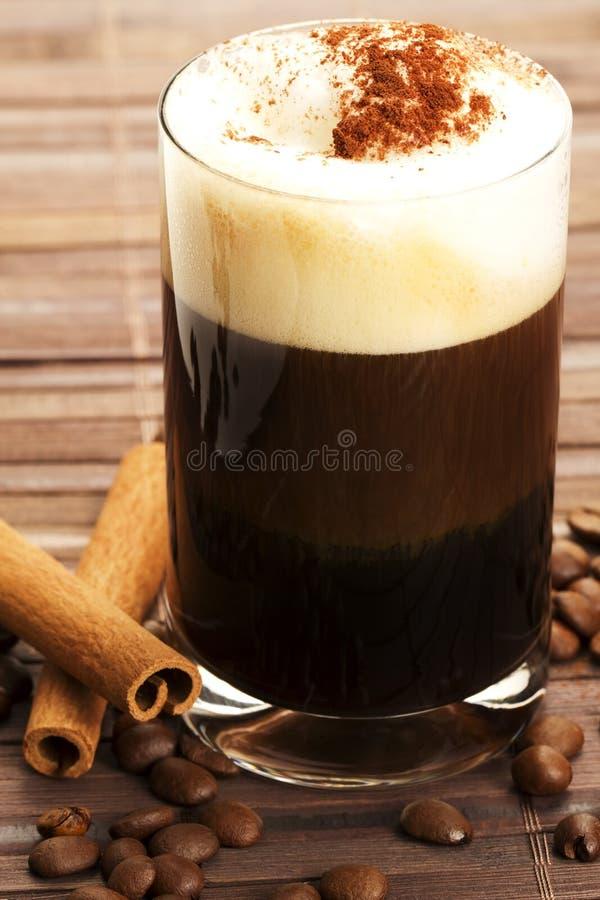Espresso With Milk Froth Cocoa Powder And Cinnamon Stock Image