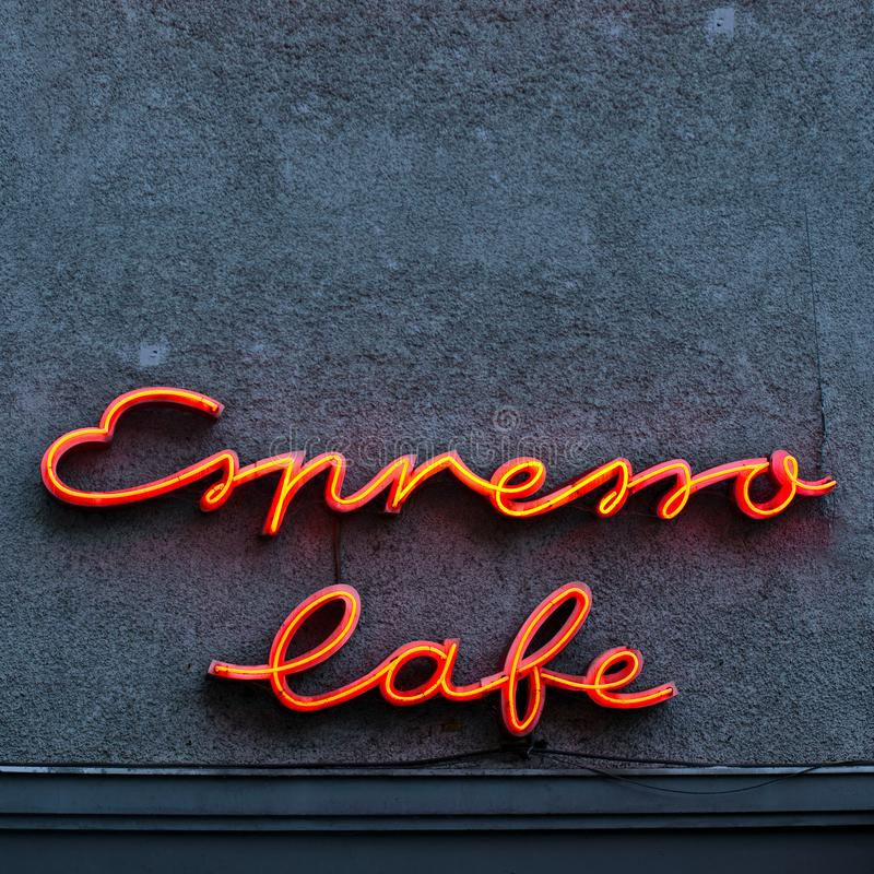 Espresso neon sign on a wall stock photos