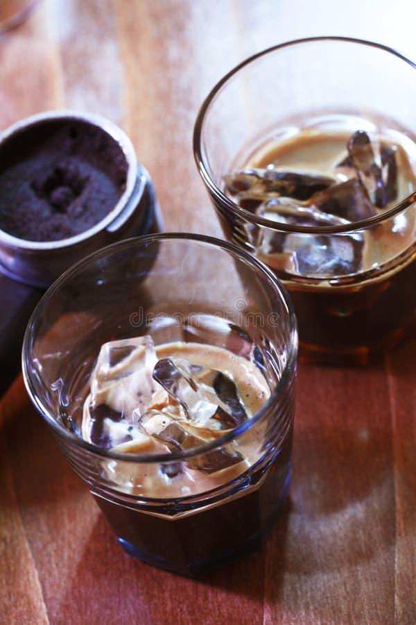 Espresso op ijs stock foto's