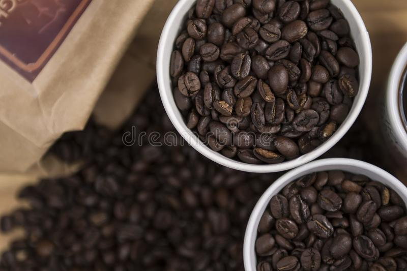 Coffee beans in white mug royalty free stock images