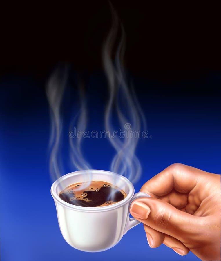 Espressocup, angehalten durch eine Mannhand. stock abbildung