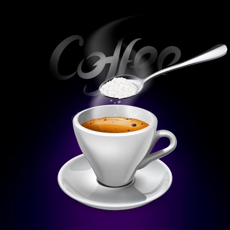 Espressokop met suiker stock foto's