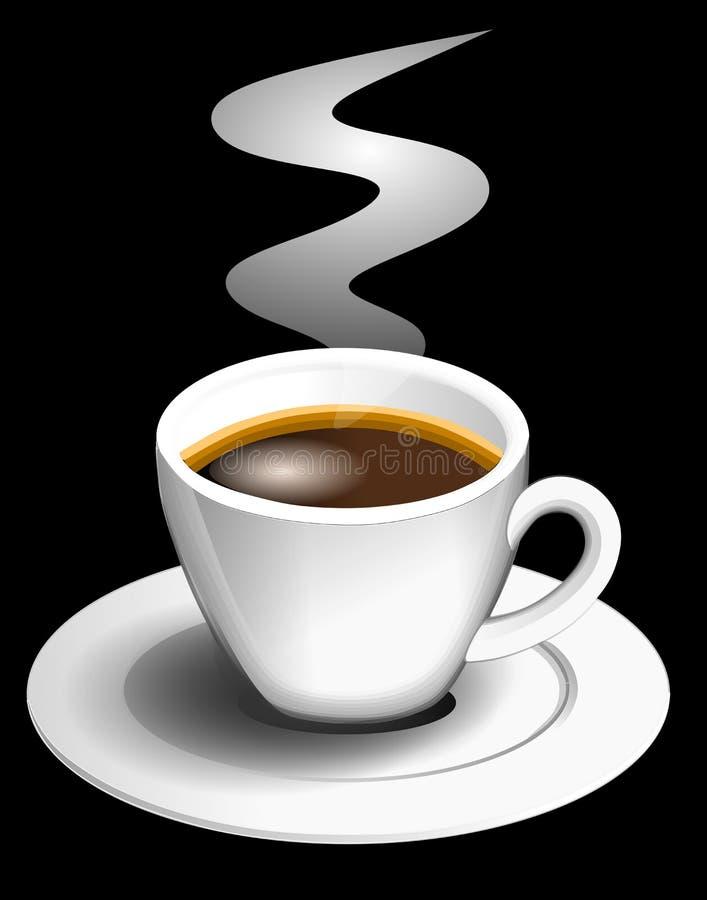 Espressokop op zwarte achtergrond stock illustratie